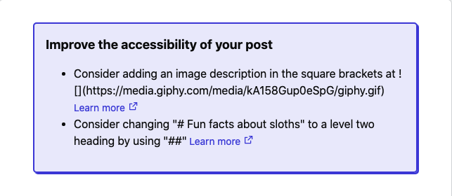 Cover image for Changelog: suggest accessibility enhancements to posts