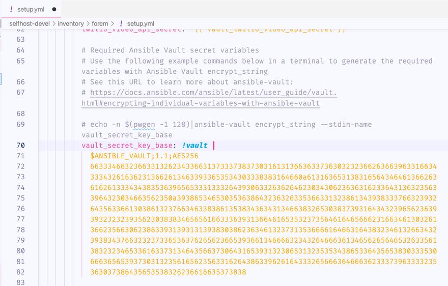 generated key in setup.yml