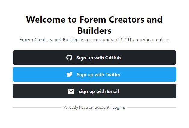 Forem Dev sign up page
