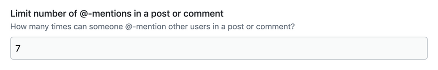 Screenshot of the Rate Limit Mention Creation input on the Admin Guide