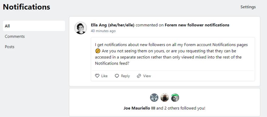 forem.dev new follower notifications screenshot