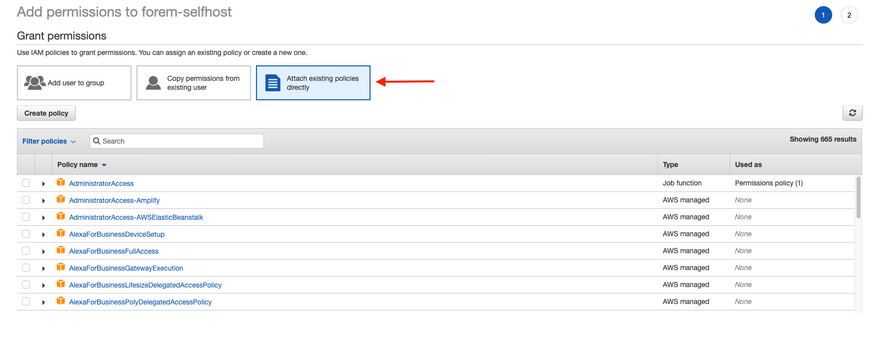 Click Attach existing policies directly