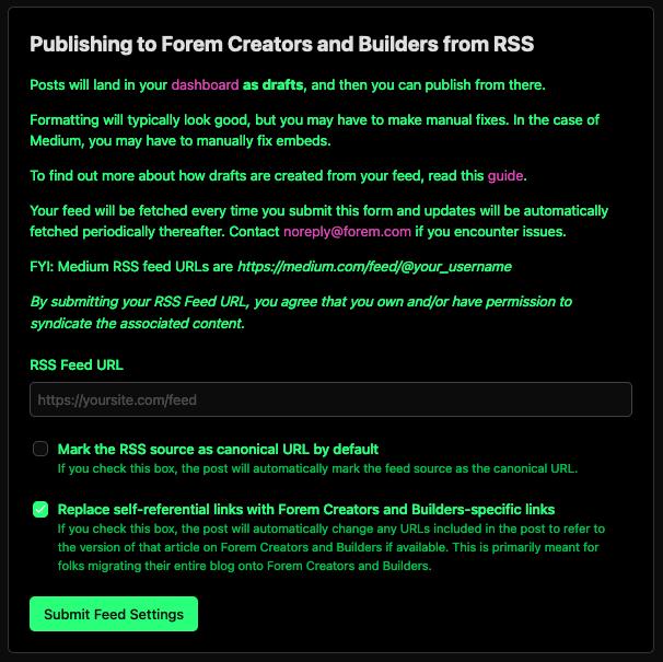 RSS import settings