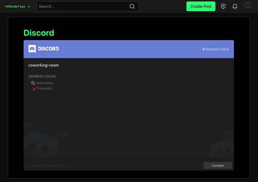 Discord embed on community.vscodetips.com