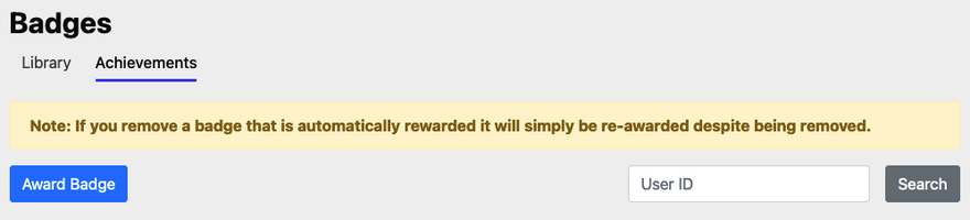 Location of Badge Achievements on Badges page