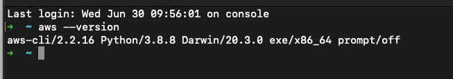 aws --version in MacOS terminal