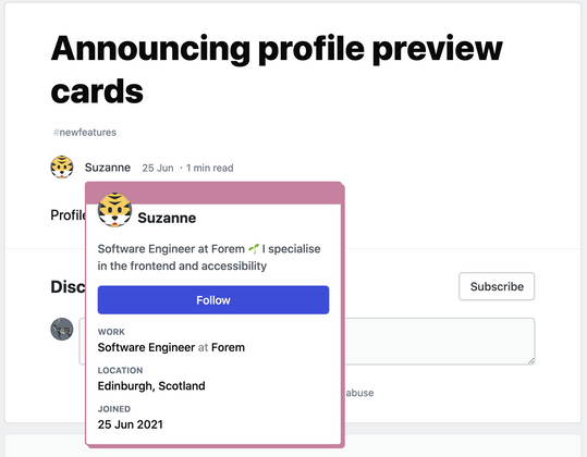 Cover image for Changelog: Profile preview cards