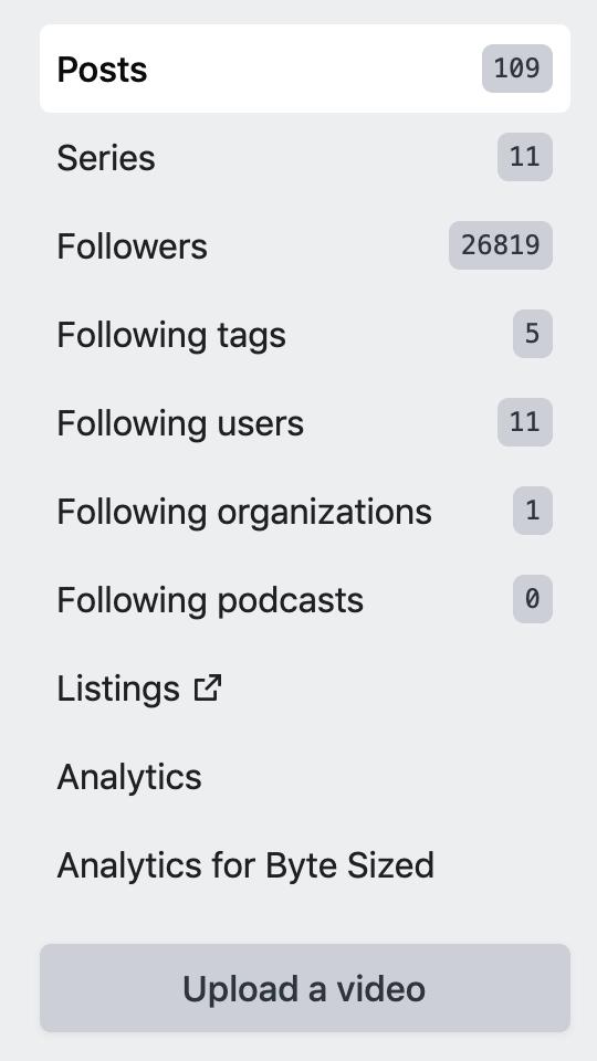 Screenshot of the Analytics in sidebar of dashboard
