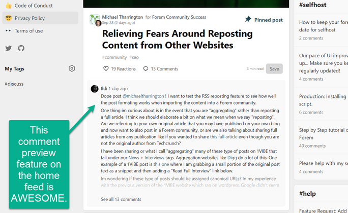 Cover image for Feature Request: More Comment Previews on Home page