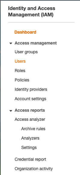 navigate to Users in the menu
