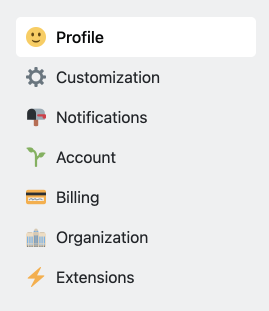 new categories with icons