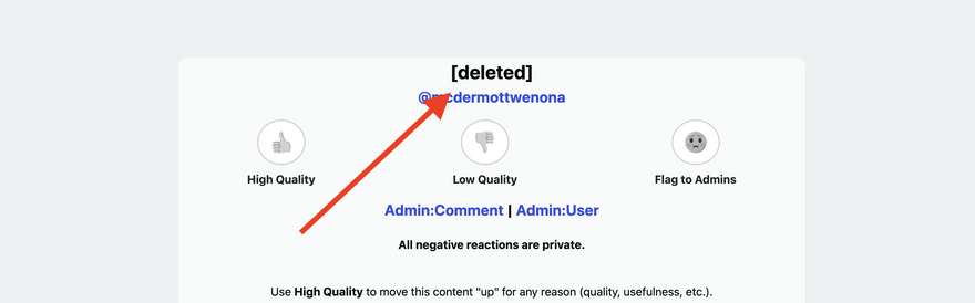 Deleted Comment in Moderation Page