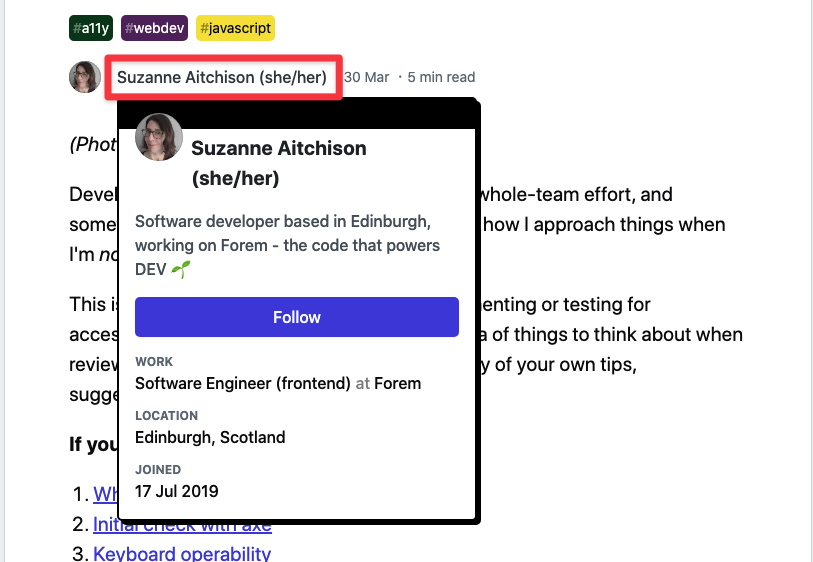 Screenshot showing a preview card over the author byline at the top of the post. It has my name, some profile data, and a follow button.