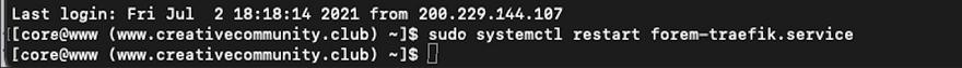 systemctl restart forem-traefik.service command in terminal