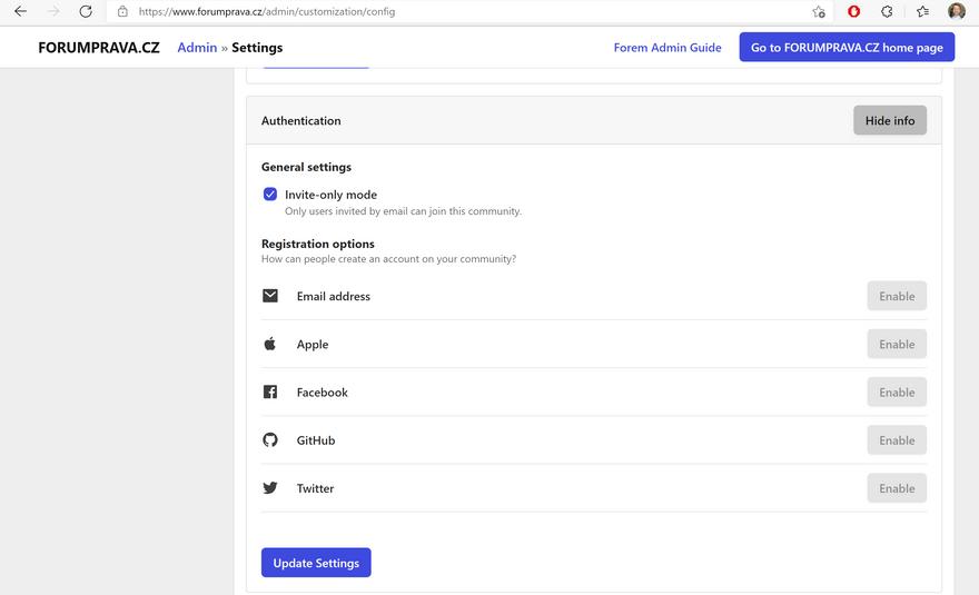 forem authentication options