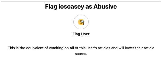 Flagging an account as abusive from mod example