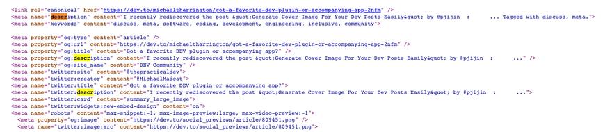 description meta-tags on my post