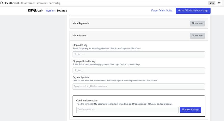 monetization settings