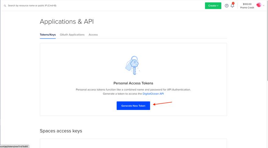 Click Generate New Token button