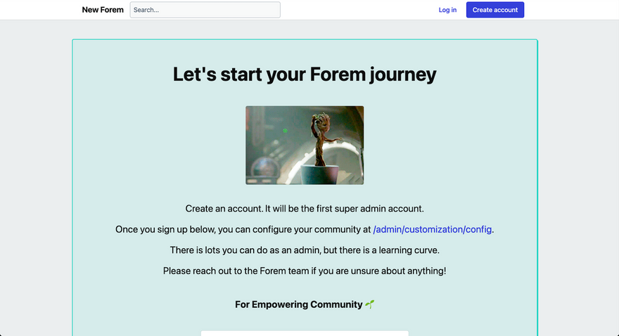 Forem welcome screen