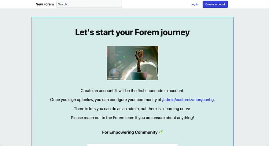Let's Start your Forem Journey page